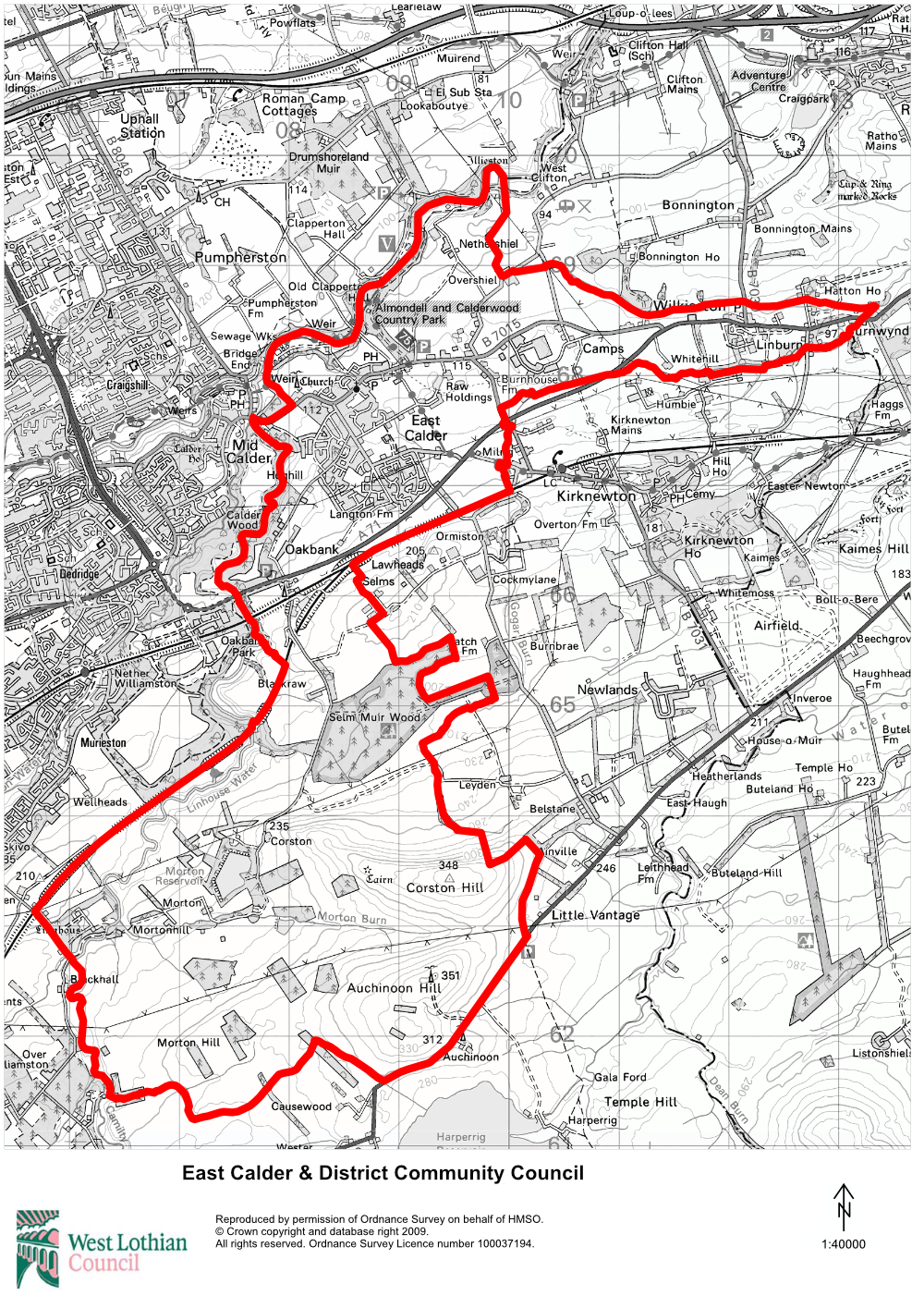 East Calder & District Community Council Area Map